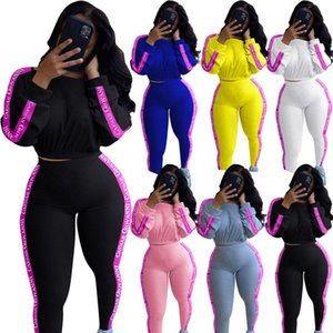 Women sports suit 2 piece set S-2XL hoodies pants fall casual clothing letter long sleeve pullover+leggings tracksuit capris DHL 3923