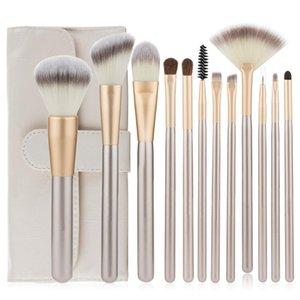 Professional 12pcs Makeup Brushes Set Foundation Powder Blush Eyeshadow Sponge Brush Soft Hair Cosmetic Tools with Leather Bag