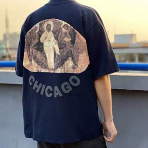 Kanye West Иисус есть Царь Чикаго Три Gods Религиозные картины маслом Футболка Vintage Короткие рукава Summer Street Мужчины Женщины T-Shirt