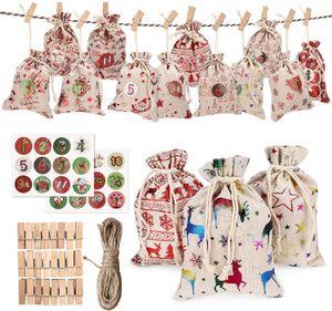 24pc Рождество льняные мешки с завязками Рождество Burlap Гуди подарочные пакеты с двойными джута завязок с 24pcs видеороликов 24pcs номер палочке