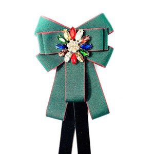 Color Rhinestone College Business Bowtie Brooch Men's Women's Bow Tie Shirt Collar Pin Airline Stewardess Bank Coat Accessories