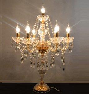 Cgjxs Moderne Decora Kristall Tischlampen für Schlafzimmer Goldene Silber Tischleuchten Kerze Kerzenleuchter Kristall Tischlampe Designs Lighting Llfa