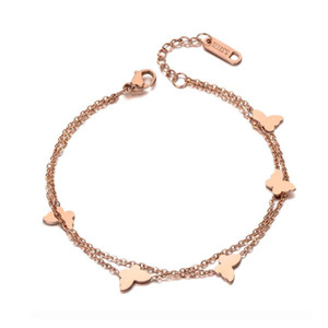 Fashion Double Layers Butterfly Charm Bracelet Bangle For Women Stainless Steel Chain & Link Bracelets Jewelry B19116