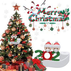 2020 superviviente del adorno de navidad personalizado familia 2 3 4 5 6 lavados a mano 7 PVC Decoraciones enmascarado del árbol de navidad colgando colgante