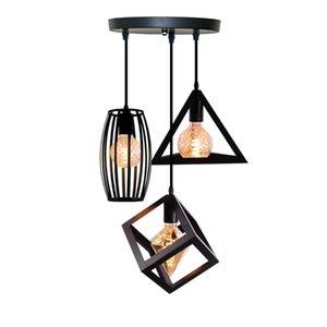 Nordic lampes suspendues Industrial Loft Vintage Lampe de fer Art Cage Noir Lampe suspendue Cuisine Salon pour E27 90-250V Ampoule Led