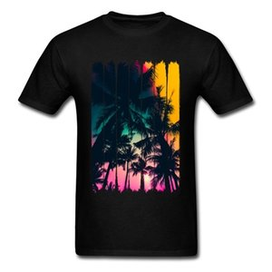 Summer Feelings Palm Tree Striped Black Tee Shirts Custom Men Top Cotton T-shirt Valentine's Gift Art Design 0924