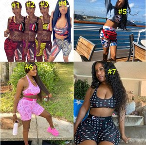 Women Designer Swimsuit Shark Tie up Bra + Shorts Swimming Bathing Suit Trunk Pants Summer Swimwear 2 Piece Bikini Set Beachwear D61514