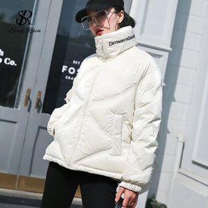 SINGRAIN Korean Thicken Down Jacket Women Loose Fashion Embroidery Letter Down Coat Winter Oversized Warm White Duck Coat