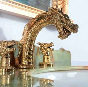 """Free ship GOLD Solid brass 8"""" widespread 3 Holes Bathroom lavatory Sink Dragon FAUCET MIXER tap deck mounted Luxurious faucet Z22x#"""