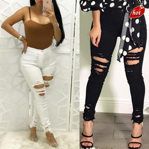 2020 Fashion Black and White Skinny Casual Pencil Pants Hole Ripped High Waist High Elastic Wash Jeans for Women Plus Size O8R2