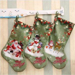 Christmas Party Large Stockings Deer Snowman Santa Claus Print Gift Bags Hanging Ornaments Christmas Decorations DDA527