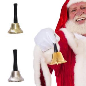 عيد الميلاد اليد بيل المحمولة سانتا كلوز الدلايات GLOD الشظية اللون يده حزب بيل عيد الميلاد زينة مقبض خشبي أجراس الدعائم LSK1142