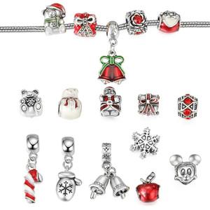 Legierung Weihnachten Perlen Charms Armband Geschenkbox Bär Schneeflocke DIY Schmuck Geschenke für Mädchen und Kinder Weihnachtsgeschenk