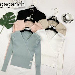 Autunno maglione delle donne sexy Gagarich Croce scollo a V Sl