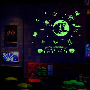 Wall Stickers Happy Halloween Luminous Glow Sticker Night KTV Club Fluorescent Stickers Decal Halloween Home Wall Window Decoration DHC1501