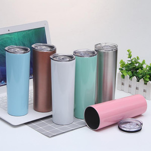 Hot 20oz Sublimation Skinny Tumbler Stainless Steel Tumbler DIY Straight Cups Vacuum Insulated 600ml Car Cup