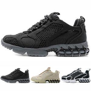 Stussy X Nike Air Zoom Spiridon Caged 2 Fossil 2020 Новый трек Красный Бежевый Мода Спиридон Мужские кроссовки Спорт Кроссовки Женщины кроссовки Открытый обувь