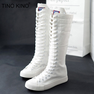 Joelho TINO KINO Mulheres Canvas Lace Up Autumn alta Botas Cruz Amarrado Zip Plus Size Ladies Flat Shoes Feminino Moda Sneaker Casual
