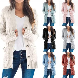 Frauen-Winter-Strickjacke Mäntel Twist Einreiher Strickjacke Langarm-Pullover Tops Massiv Wollpullover Mode Clause Outwear LSK1317