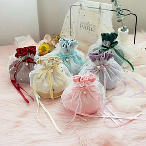 velvet yarn gift boxes for sugar containing gift bag with pearl yarn decor 10*13.5cm candy box for wedding baby shower pouches