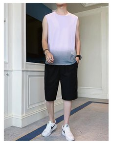 Fashion High Street Tops Mens Gradient Sleeveless Sommer-T-Shirts der Männer plus Größe loses O-Ansatz T-Shirts Man