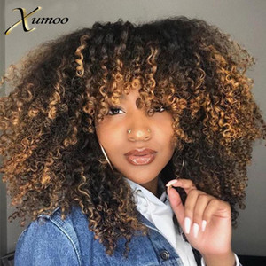 XUMOO Dropshipping Short Brazilian Hair Wig Afro Kinky Curly Wig Human Hair Ombre Brown Bob Full Machine Made Wigs For Women