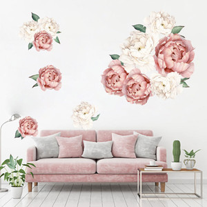 Pink and White Peony Flower Wall stickers for Kids Room Living Room Bedroom Home Decor Wall Decal Floral Home Decor