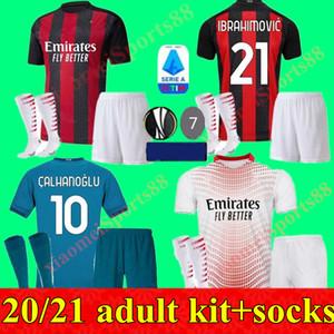 Los nuevos hombres de los kits 20 21 IBRAHIMOVIC AC Milan camiseta de fútbol 2020 2021 piątek camiseta de fútbol Paquetá THEO Bennacer hombres adultos kit uniforme