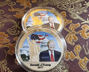 Trump Gold Donald Coin Collection Coins States Craft Metal President American 45th Commemorative 2017 Badge United Silver Avatar Fash bbyCB