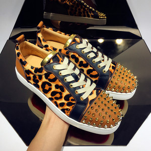 High Qaulity Red Bottom Sneakers Camo Rantus Shoes Junior Low-up Leopard Groin Suede Men's Shoes Shoes Flat Dress Dress Regalo di nozze