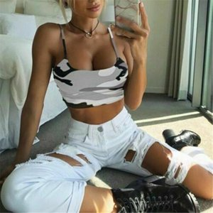 2020 Womens Camouflage Print Vests Multi colors Short Tank Top Summer Sexy Tank Top Sleeveless Fancy Vest Off Shoulder Camisole