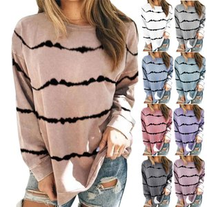 2020 Women Hooded New Womens Tie-Dye Printed Striped Fashion Round Neck Loose Long-Sleeved Sweatshirt