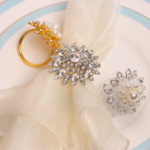 Free Shipping 4 X Rhinestone Flower Napkin Ring Alloy Napkin Buckle Hotel Wedding Party Table Decoration Accessories