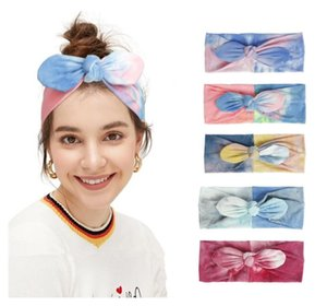 Mère et fille Bandes de cheveux Bébé Cravate Teinture Band Bandes Babies Beaux Bow Cheveux Fashion Mode Bunny Ear Parent-enfant