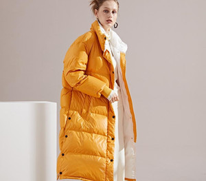 Ladies Duck Down Jacket Winter Warm Coat Fashion Lapel Sport Mid-length Lightweight Down Long Sleeve Jacket Women for 2020