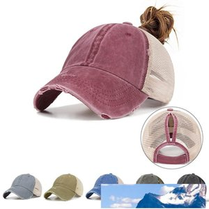 7 colors Washed ponytail Baseball Cap Women Messy Bun Baseball Hat Snapback Caps Sun Caps Net Surface Breathable Casual Hats