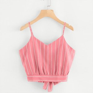 Women Self Tie Back V Neck Striped Crop Cami Top Camisole Blouse Sleeveless Lace Up Backless Tanks