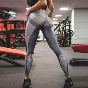 Geometric Print Leggings Push Up Tight Fitness Leggings Yoga Pants High Waist Gym Clothing Mesh Patchwork Athletic Sports Wear