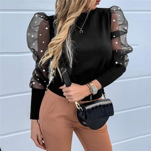 Women O Neck Blouses Long Puff Sleeve Mesh Beading Ruffle Shirts Women Solid Color OL Tops Fashion