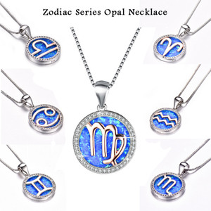 12 Constellation Lucky Pendant Necklace 925 Sterling Silver Blue Fire Opal Necklace Glamour Women's Wedding Party Diamond Jewelry Gift