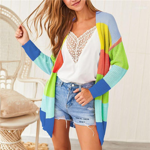 Bolsos do casaco Com listrado colorido Womens Cardigan camisolas do arco-íris manga comprida V Neck solta Ladies Knit