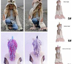 AMUSE 2 in 1 unicorn scarf cap Small size Kids Infant Llama Warm Knitted Hats Children cartoon warmer Winter crochet Hat LJJA1013