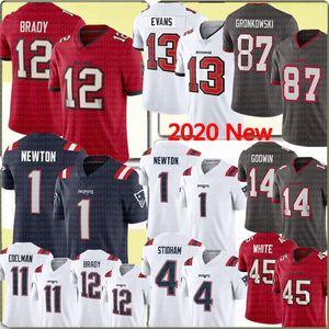 12 Tom Brady 87 Rob Gronkowski TampabaieBuccaneer Jersey 1 Cam Newton NouveauAngleterrePatriot 4 Jarrett Stidham Edelman Evans