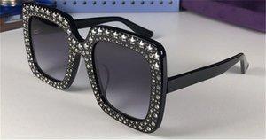 Heißen neue Art und Weise im Freien Schutz Sonnenbrille 0148s Kristall Stern Diamanten quadratische Rahmen Avantgarde-Design-Stil Top-Qualität