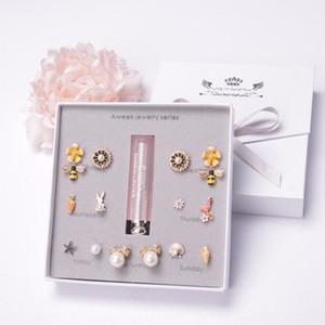IhbLO 2020 Corée East Gate Lipstick semaine boîte cadeau Boucles d'oreilles semaine de bijoux de rouge à lèvres boucles d'oreilles géométriques accessoires féminins