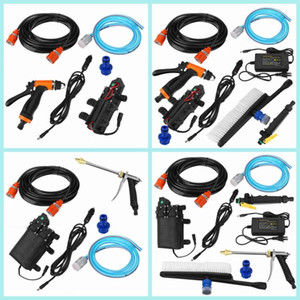 12V 120W Portable Car Washer Gun Water Pump Kit High Pressure Electric Spray Washing Machine Naro Long Gun Cleaning Tool for Car