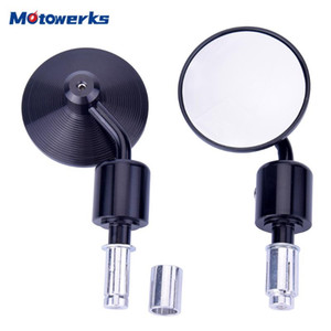 Motowerks 22mm 7 8 Inch Motorcycle Rear View Mirror Round Side Mirrors Handlebar End Mirror for Cafe Racer Bobber Accessories