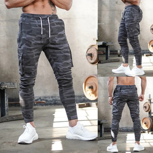 Mens Pants Workout Sport Tapered Joggers Pants Running Athletic Drawstring Camouflage Sweatpants Multi Pockets Fitness Trousers