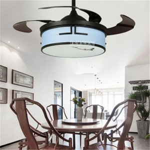 9401 42inch Chinese Retro Electric Pendant Fan With Led Light Living Room Bedroom LED Invisible Ceiling Fan Light 110 220V