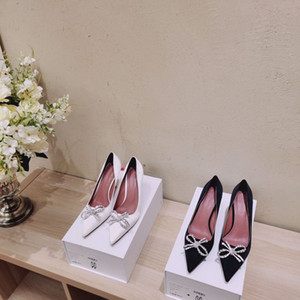 New preto estilo e seda apontou sapatos de salto-alto mulher branca com strass arco com finas e rasas sapatos femininos